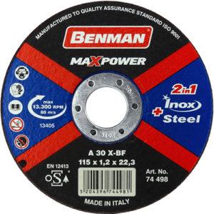 Τροχός Κοπής Benman 115×1.2 Inox