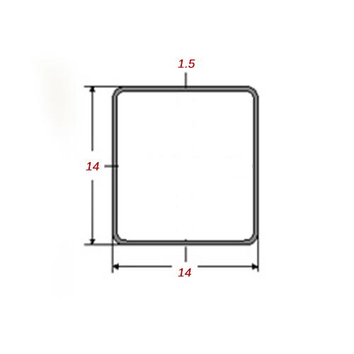Στραντζαριστό 5m Mαύρο 14x14x1.5mm