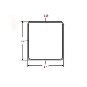 Στραντζαριστό 5m Mαύρο 17x17x1.5mm