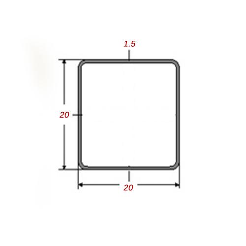 Στραντζαριστό 5m Mαύρο 20x20x1.5mm