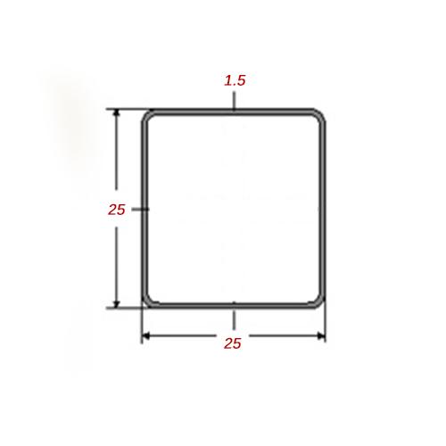 Στραντζαριστό 5m Mαύρο 25x25x1.5mm