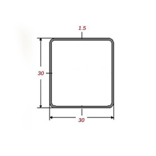 Στραντζαριστό 5m Mαύρο 30x30x1.5mm