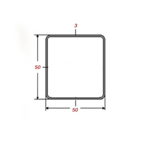 Κοιλοδοκός 6m Mαύρος 50x50x3mm