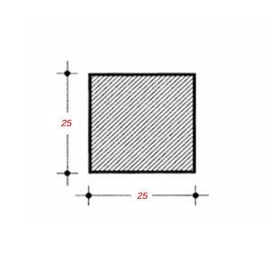 Τετράγωνο 6m Μασίφ 25Χ25mm